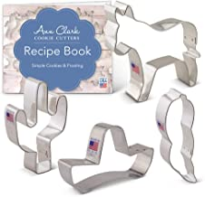 Ann Clark Cookie Cutters 4-Piece Cinco de Mayo Cookie Cutter Set with Recipe Booklet, Donkey, Cactus, Sombrero, Chili Pepper