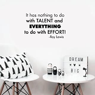 Wall Sticker Quote Wall Decal Funny Wallpaper Removable Vinyl It has nothing to do with talent and EVERYTHING to do with EFFORT! -Ray Lewis
