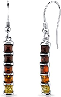 Five Stone Multi Color Baltic Amber Dangle Earrings Sterling Silver