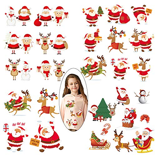 Christmas Iron on Patches 4 Sheets Xmas Heat Transfer Stickers Santa Claus Elk Snowman Applique Repair Cartoon Decal for Kids Boy Girl Baby T-Shirt Clothes Decoration