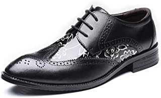Elegdy Mens Brogue Loafer Shoes Wingtip Hollow Carving Splice Smooth Flower Pattern PU Leather