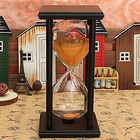 Bluelover 60 Minuti in Legno Telaio Clessidra Clessidra Sand Timer Home Decor Gift - Nero + Arancio