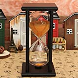 Bluelover 60 Minutos De Madera Marco Reloj De Arena Reloj Arena Temporizador Home Decor De Regalo - Negro + Naranja