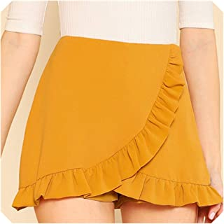 Ruffle Trim Overlap Vacation Mid Waist Zipper Women Autumn Beach Boho Party Shorts