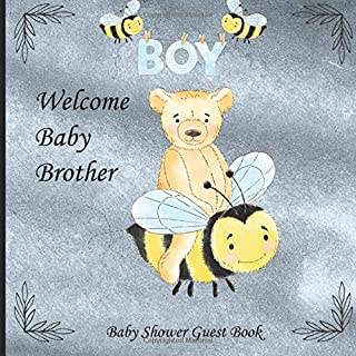 Welcome Baby Brother: Beautiful Paperback Baby Shower Guest Book With Teddy Bear And Bumble Bee In Blue