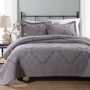 NEWLAKE Jacquard Hypoallergenic Floral Pattern Bedspread Set with Real Stitched Embroidery, Grey, King Size