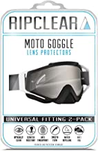 RIPCLEAR Moto Lens Protector Tear Off Alternative (Fits All Moto Goggles!) Reduce Waste Military Grade Dirt Bike/ATV/Moto Goggle Lens Protectors Crystal Clear 2-Pack