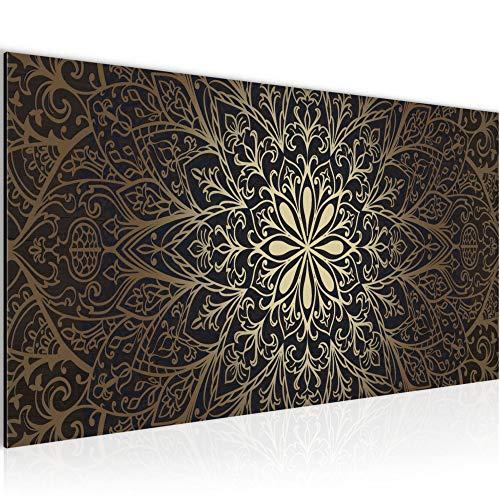 Bilder Mandala Abstrakt Wandbild Vlies - Leinwand Bild XXL Format Wandbilder Wohnzimmer Wohnung Deko Kunstdrucke Braun 1 Teilig - MADE IN GERMANY - Fertig zum Aufhängen 107412a