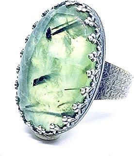 Anello in argento sterling ossidato con preziosa Prehnite da 45 carati (18 mm x 25 mm). Anello in argento sterling. Anello...