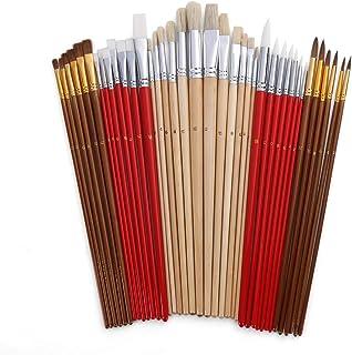 Sangmei 38 Pcs Conjunto De Pincéis De Pintura Paintbrushes Starter Kit Inclui Taklon/Cerda/Escovas De Cabelo De Cavalo Par...
