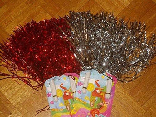 2er SET Tanzwedel Pompon Cheerleader Puschel funkelnd rot + silber