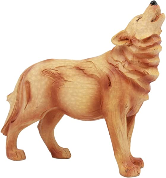Ebros Rustic Wildlife Forest Blood Moon Howling Gray Wolf Figurine In Faux Wood Finish Collectible Nature Wildlife Dances With Wolves Statue As Timberwolves Timberwolf Direwolf Alpha Wolf Pack Decor