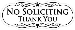 All Quality Designer NO Soliciting Thank You Sign - White Small