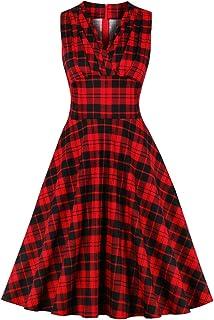 Wellwits Blak - Abito vintage da donna, a vita alta, stile vintage anni '50, colore: rosso