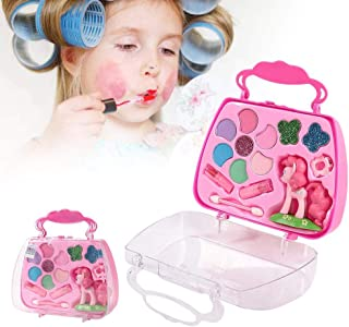 Hangarone Juego De Maquillaje Girl Pretend Play con Espejo,Princess Makeup Box Set De Cosmética Especial para Niños Caja De Maquillaje De Juguete Girl Play House Beauty Salon Set Juguetes Beautifully