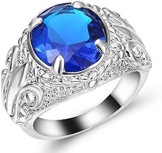 خاتم للرجال فضي بحجر الياقوت الأزرق مقاس أمريكي