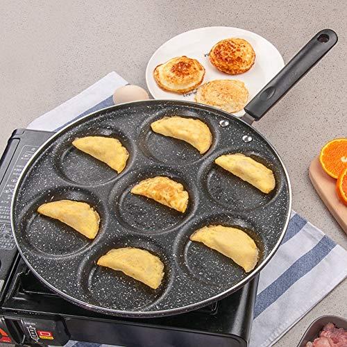 Huakii Sartén antiadherente con 7 agujeros, molde para hamburguesas, utensilios de cocina para el hogar, hotel y restaurante