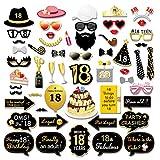 Konsait 55pcs 18 ° Compleanno Photo Booth Props Accessori Fai da Te Colorati Occhiali Baffi Labbra Farfallino Cappelli Nero e Oro per 18 Anni Compleanno Decorazioni Ragazza Ragazzi