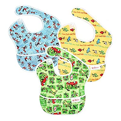 Bumkins Dr Seuss SuperBib, Baby Bib, Waterproof, Washable, Stain and Odor Resistant, 6-24 Months (Pack of 3) - Green Eggs, Yellow Fish, Cat In The Hat