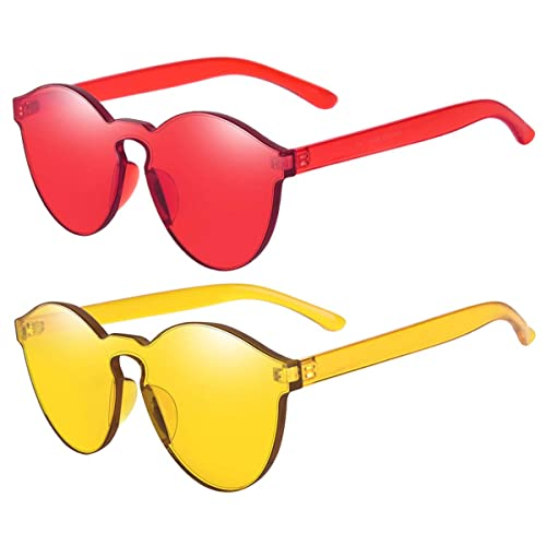4c21dbc44b54 One Piece Rimless Sunglasses Transparent Candy Color Tinted Eyewear