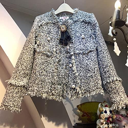 Vestes de Tweed de Laine Vintage Femmes à Carreaux Tassel Cropped Bombardier Jacket Coat Automne Hiver Outwear Elegant Harajuku Pearls Perles