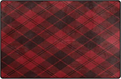 Use7 Red Grunge Plaid Tartan Merry Christmas Area Rug Rug Carpet For Living Room Bedroom 50 X 80 Cm 1 7 X 2 6 Feet Amazon Co Uk Kitchen Home