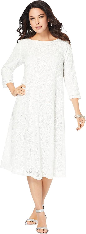 Roamans Women's Plus Size Lace Swing Dress