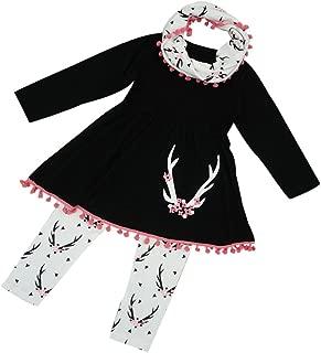 Kids Girls Winter Tunic Dress Pants Scarf 3PCS Clothes New Outfits Set