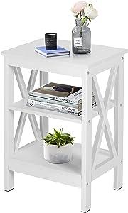 VECELO Modern Night Stand/Sofa Side/End Storage Shelf X-Design Versatile Nightstands Lamp Table Living Room Bedroom Furniture,Easy Assembly, Antique White