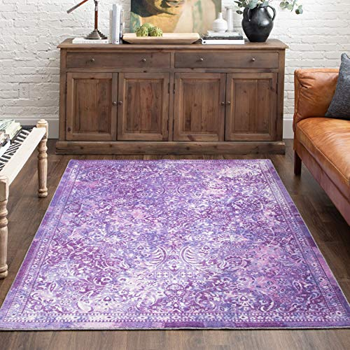 Mohawk Home Prismatic Garden City Purple Boho Distressed Abstract Precision Printed Area Rug, 5'x8'