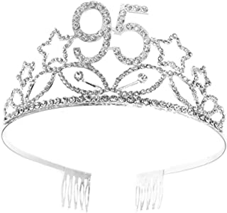 Beaupretty 1PC 95th Birthday Girl Glitter Crown Crystal Princess Crown For Birthday Party Hair Accessories
