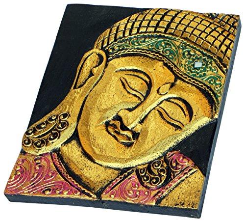 NEU Holz Relief Bild Gold Buddha Budda Deko Bali Buddhismus Feng Shui HBild04R