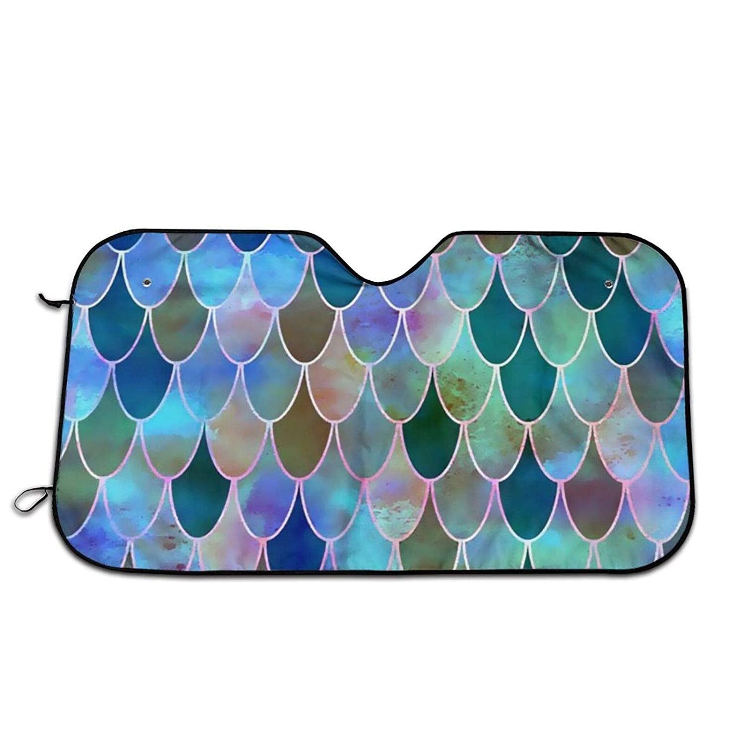 Bombing free shipping Durable Mermaid-Tile-Mermaid-Canvas Auto Windshield Sun Co Shade Quantity limited