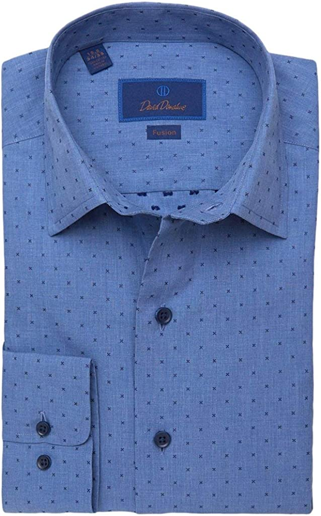 David Donahue Heathered Soft Dobby Fusion Woven Shirt