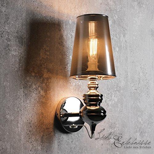 Design XL Wandleuchte silber 1x E27 bis 60W 230V Wandlampe modern für Wohnzimmer Flur tolle Lichteffekte großer Schirm stabile Bauweise