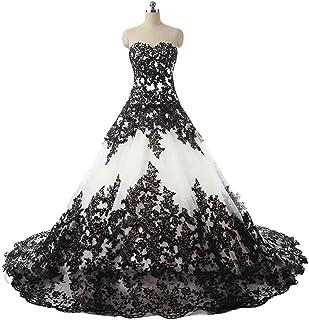 5d88fc3971f APXPF Women s Vintage Gothic Wedding Dress Elegant Black Appliques Prom  Ball Gowns