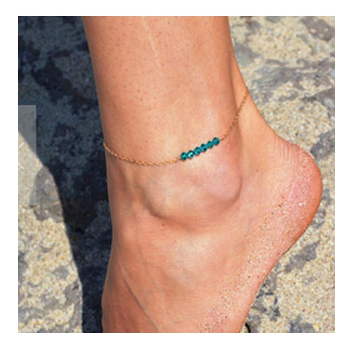 Mooinn Handmade Dainty Anklet Crystal Beads Anklet Beach Foot Chain Ankle Bracelet for Women Girls Anklets Jewelry