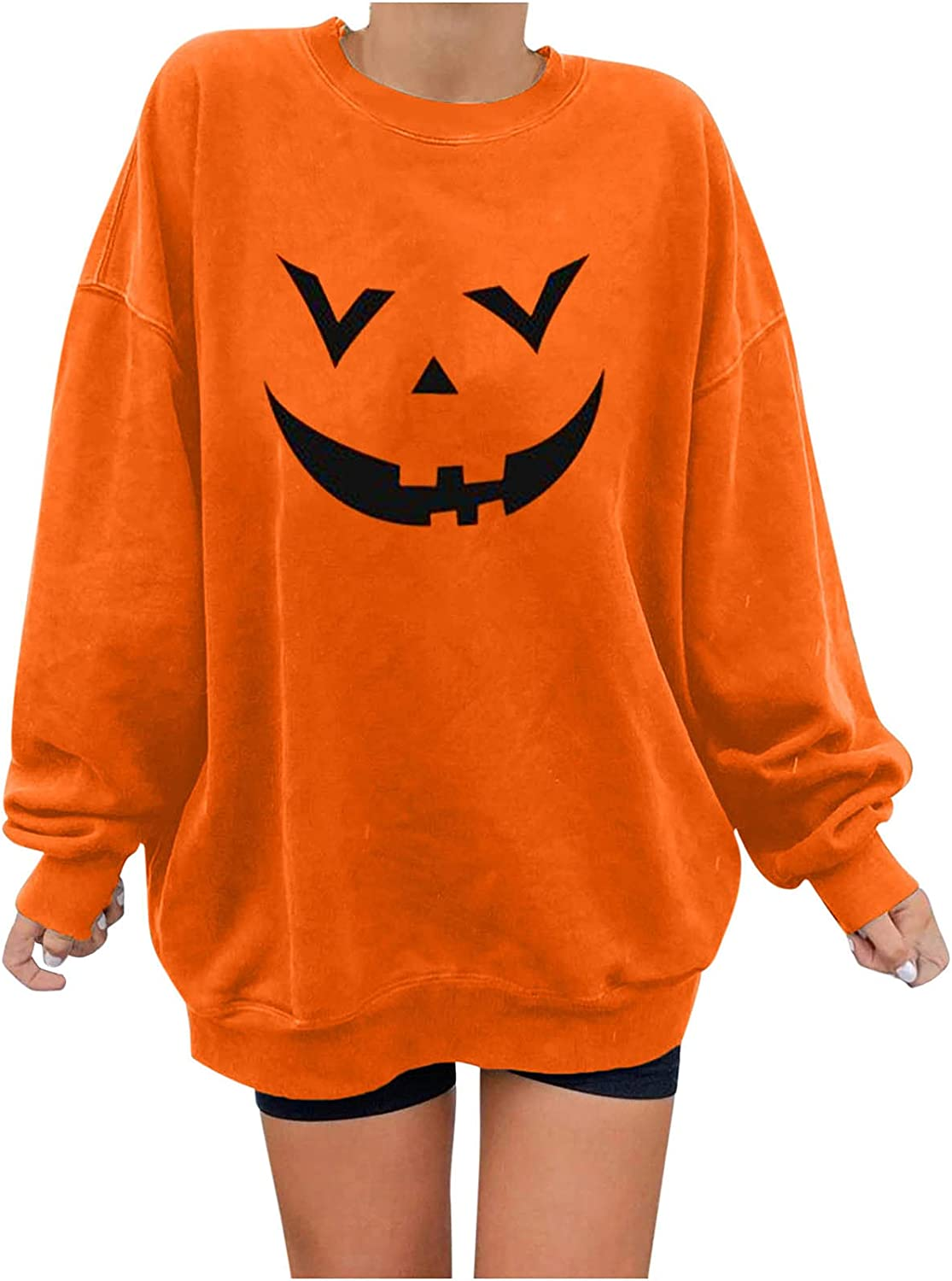 Halloween Sweatshirts for Women Plus Size Long Sleeve Pullover Loose O Neck Blouse Fashion Print Fall Tops