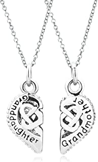 2 Part Heart Love Mother Daughter Sister Best Friend Filigree Charm Pendant Necklace