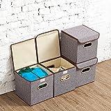 EZOWare 4-Pack Aufbewahrungsbox, 4-Pack Aufbewahrungsbox inkl. Deckel, Cube Aufbewahrungskorb Ordnungsystem Sauraum Boxen Körbe Kisten (Grau) – 25×25 cm - 9