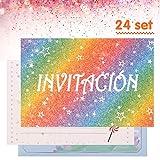 Kesote 24 Tarjetas de Invitación en Español Arco Iris con Purpurina Tarjetas de Invitación Cumpleaños Infantil, Bautizo, Boda, con 24 Sobres
