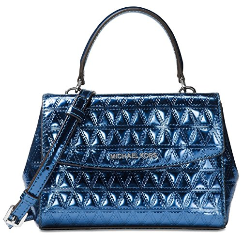 """Pyramid-quilted specchio leather with Gold-tone hardware in Steel Blue Color Magnetic-snap closure ,18K gold-tone exterior hardware & front logo 1 interior zip pocket & 1 slip pocket ; Interior lining: polyester Mini sized bag; 8""""W x 5-1/4""""H x 3""""D"""