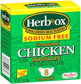 Herb-Ox Chicken Instant Broth & Seasoning, Sodium Free, 8-Count Packets (Pack of 12)
