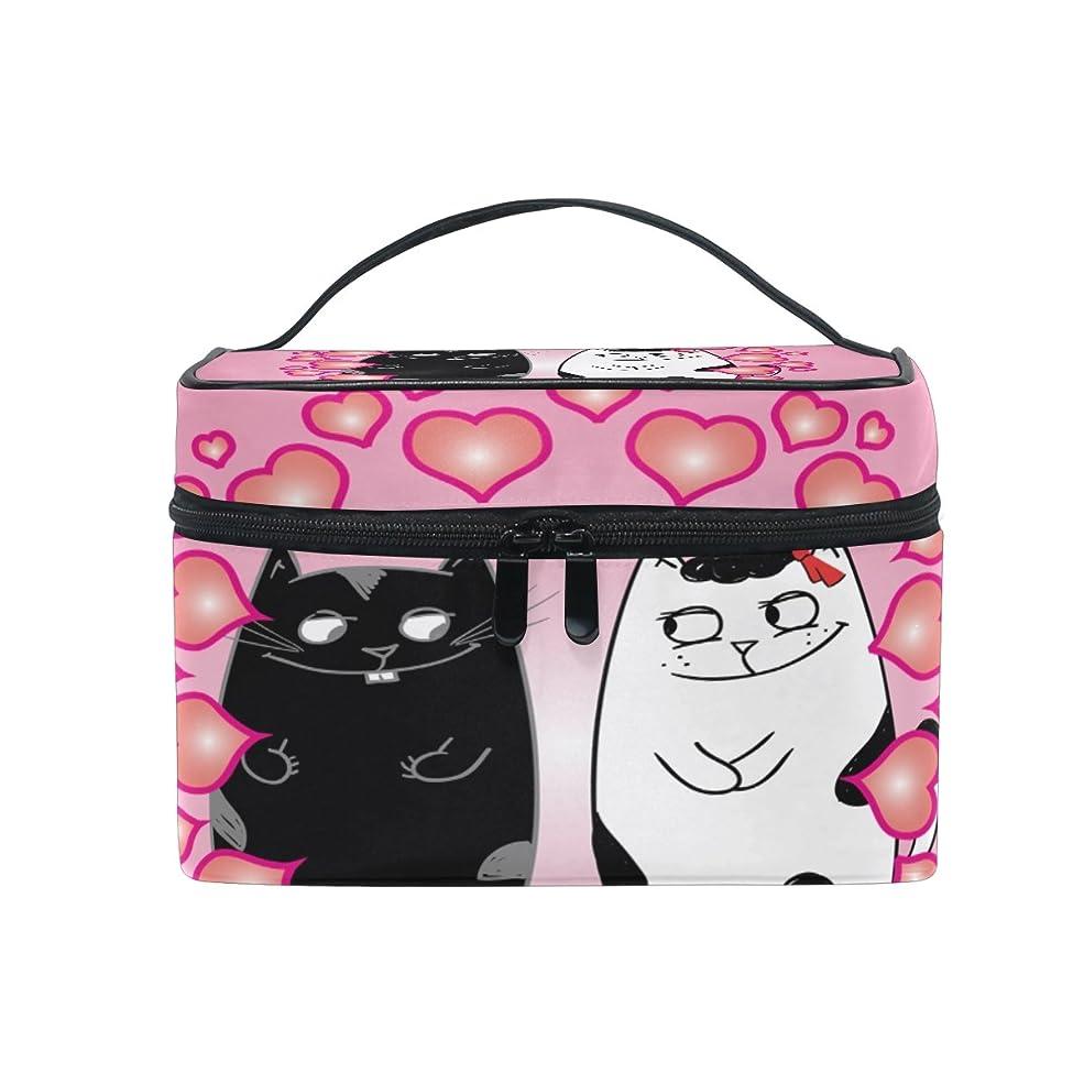 ペナルティドラム自分のNatax 化粧ポーチ 大容量 かわいい おしゃれ 機能的 バニティポーチ 収納ケース ポーチ メイクポーチ ボックス 小物入れ 仕切り 旅行 出張 持ち運び便利 コンパクト幸せな笑顔の猫
