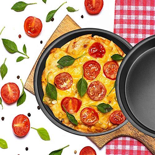XAVSWRDE Juego de 2 bandejas para pizza redondas, antiadherentes, de acero al carbono, para hornear pizzas de 7 pulgadas, perforadas, para hornear (negro)