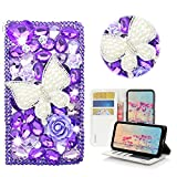 STENES Huawei Ascend XT2 Case - STYLISH - 3D Handmade Crystal Pearl Butterfly Rose Flowers Wallet Credit Card Slots Fold Stand Leather Cover Case For Huawei Ascend XT2 H1711 - Purple