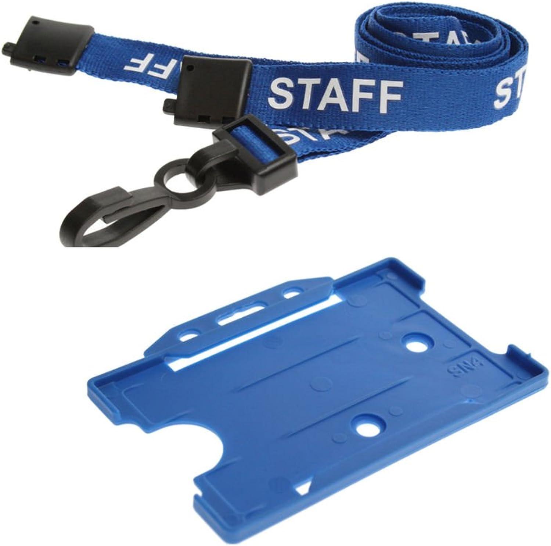 5 Blau Staff Safety Breakaway Neck Lanyard (Plastic Clip) & Blau ID Card Pass Badge Holder B00LN5NRVK | Schön In Der Farbe