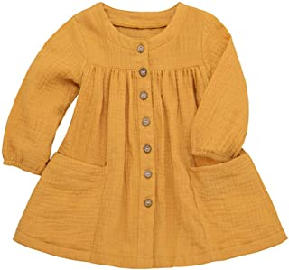 Toddler Baby Girl Long Sleeve Cotton Linen Button Pocket Tops Dresses (Top Shirt)