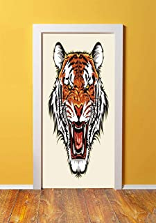 Tiger 3D Door Sticker Wall Decals Mural Wallpaper,Angry Ready to Attack Beast with Sharp Fangs Jungle Animal Detailed Face of Hunter,DIY Art Home Decor Poster Decoration 30.3x78.805,Orange Black