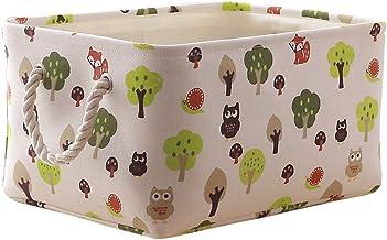 (Medium, owl) - TcaFmac Small Decorative Fabric Storage Basket Bin Canvas Toy Storage Organiser Baby Laundry Basket